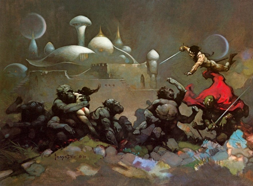 Frazetta Battling the Green men