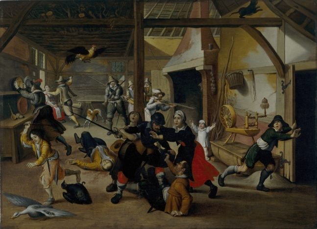 HIS292256 Soldiers Plundering a Farm during the Thirty Years' War, 1620 (oil on wood) by Vrancx, Sebastian (1573-1647); 50.8x69.5 cm; Deutsches Historisches Museum, Berlin, Germany; (add.info.: Soldaten pluendern einen Bauernhof;); © DHM; Flemish, out of copyright