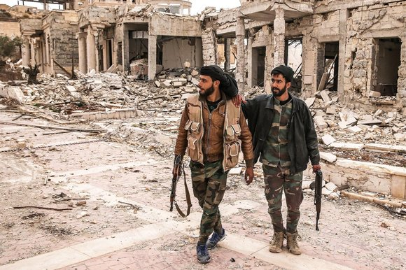 Ruins with Jihadis