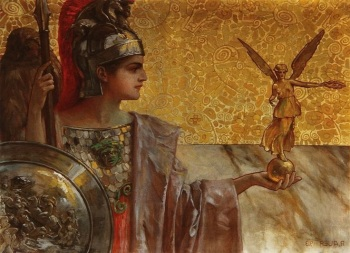 Gods 05 Athene Admiring Her Own Image by R. Auer (1913)