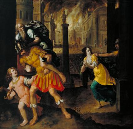Aeneas and his Family Fleeing Burning Troy 1654 by Henry Gibbs 1631-1713