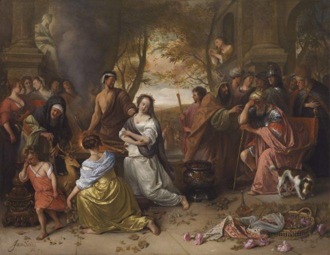 iphigenia (1671) by jan steen (1626 - 1679)