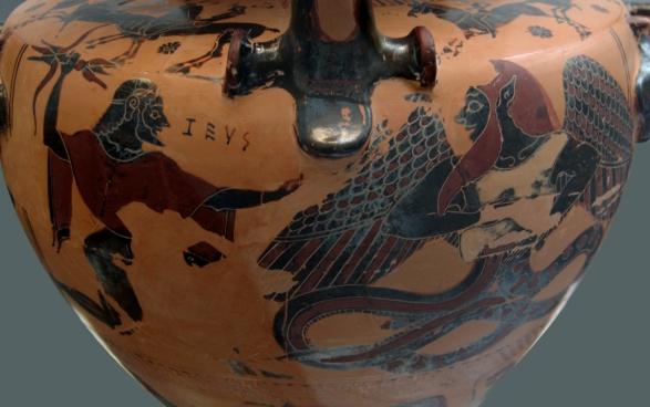 Zeus vs. Typhon Greek Black-Figure Vase Late 6th Cent. BC)
