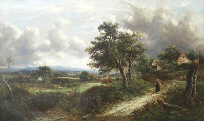 Joseph Thors (1835 - 1920) Scene near Cheltenham (1880)