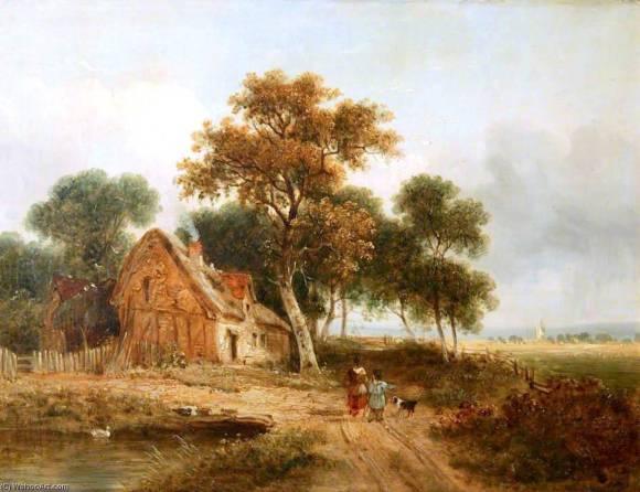 Samuel David Colkett (1806 - 1863) Farmhouse with Pond (1847)