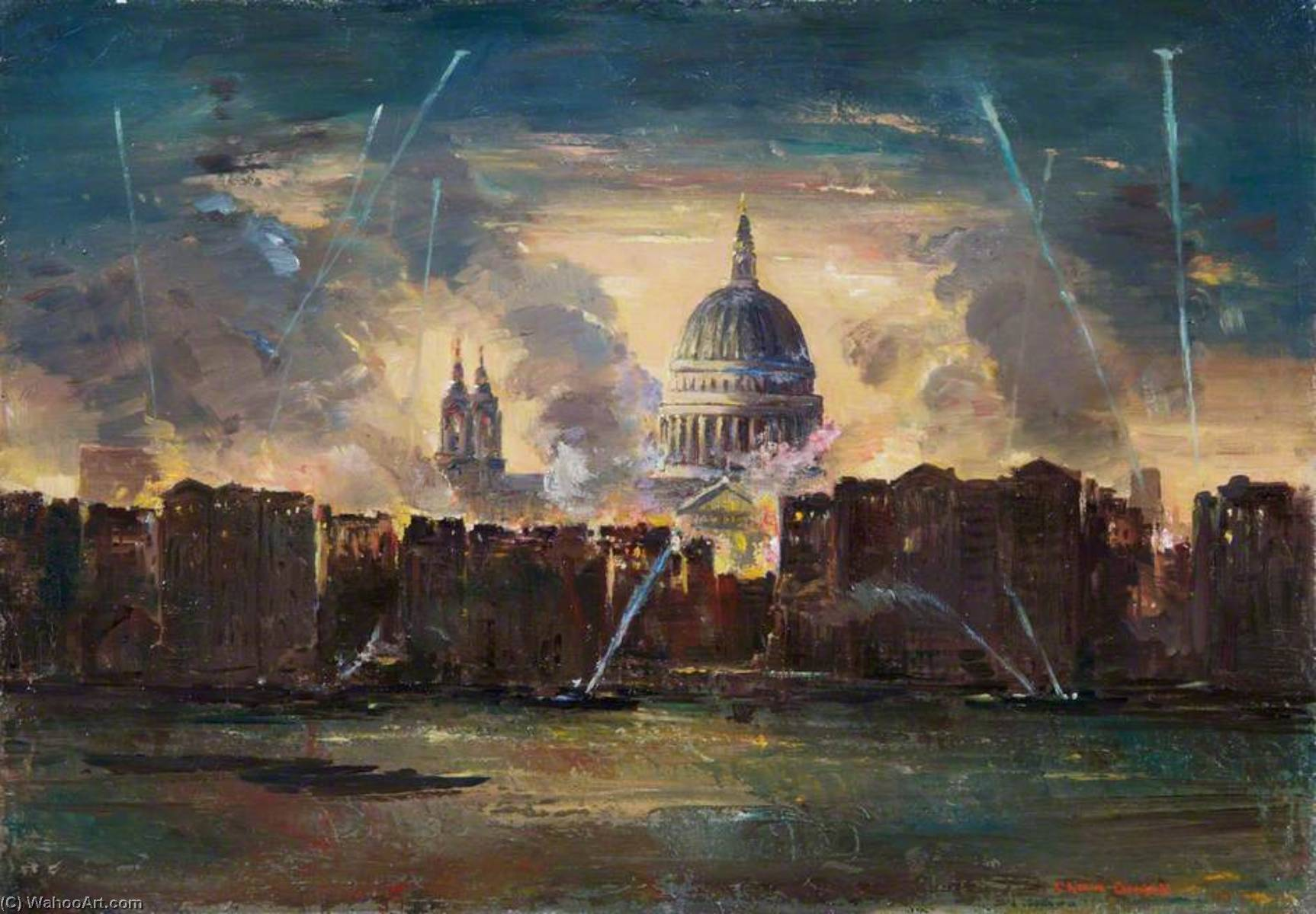 Charles Ernest Cundall (1890 - 1971) - St Paul's Cathedral during the Blitz (1941)
