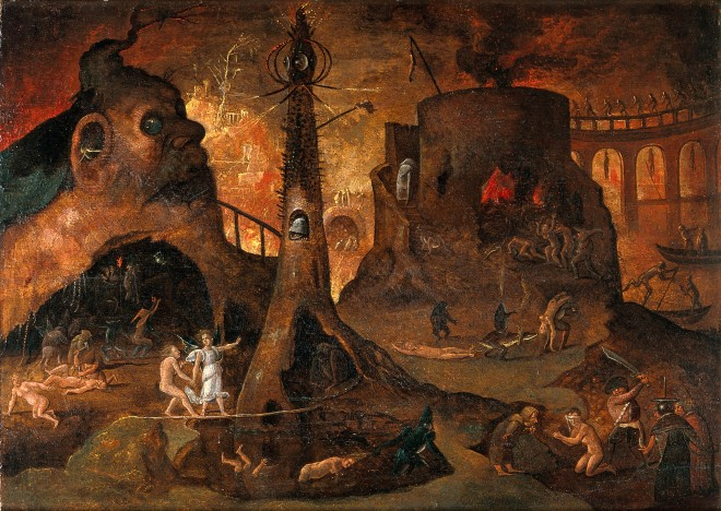 Hieronymus Bosch (1450 - 1516) - Angel Leading a Soul into Hell (ca. 1504)