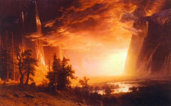 Albert Bierstadt (1830 - 1902) - Sunset in Yosemite Valley (1868)
