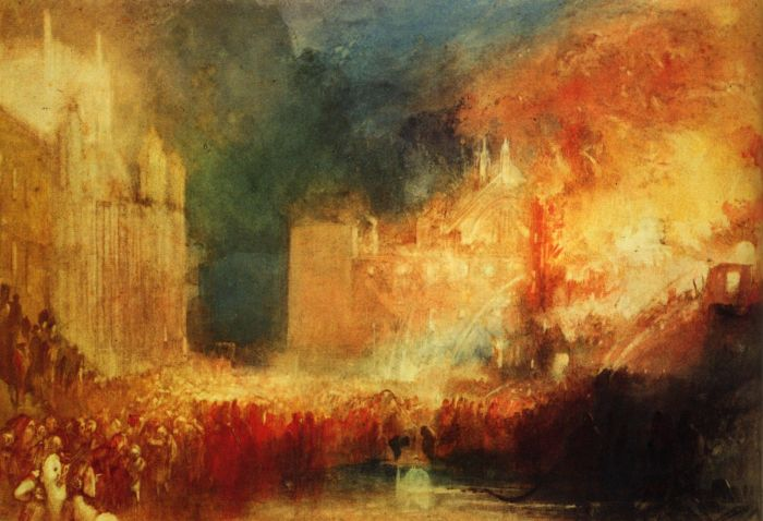 Joseph Mallord Turner (1775 -1851) - Burning of the Houses of Parliament (1834)